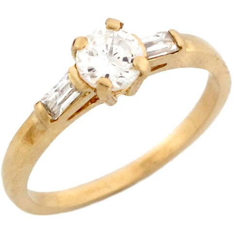 14k Real Yellow Gold CZ Promise Ring