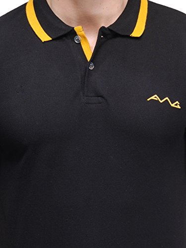 5bd201e89 AWG Men's Premium Cotton Polo T-shirt with Embroidery - Black