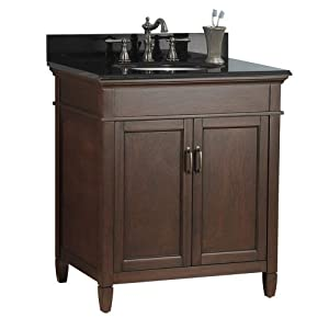 foremost asgabk3122 ashburn 31 inch x 22 inch vanity with granite top black home. Black Bedroom Furniture Sets. Home Design Ideas