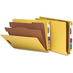 Nature Saver Classification Folders, End Tab, Ltr, 2-Div, 10/BX, Yellow (SP17374)