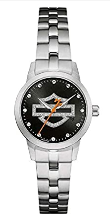 buy Harley-Davidson Women'S Glitter Open Bar & Shield Watch, Stainless Steel 76L182