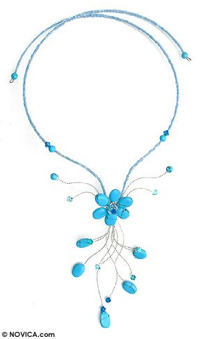 Beaded necklace, 'Azure Forest' 3.4
