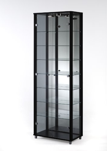 Black Glass Display Cabinet Double Door with Mirror Back, 4 Moveable Glass Shelves & Spotlight
