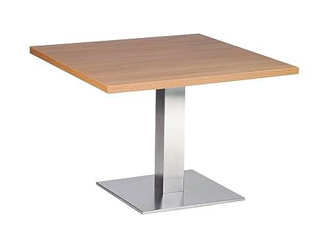 Daniella-Tavolino da caffè, in acciaio INOX, 50 cm, in legno di quercia, design quadrato
