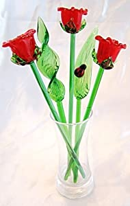 NEW Hand Blown Glass Red Rose Flowers and Leaves Set with Vase and Red Ladybug