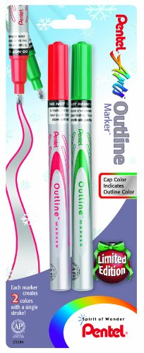 Pentel Arts Outline Marker, Silver Ink Outlined in either Red or Green Ink, 2 Pack (MSP60BPZBD)