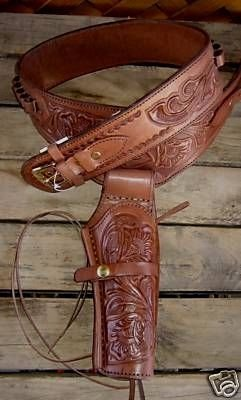 NEW! Brown Single Western Genuine Leather Holster Cowboy Rig 22 Cal Ammo Loops By GUNS4US *** (Guns4us Inc compare prices)
