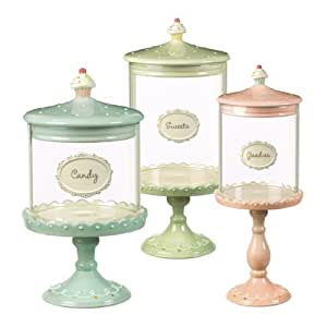 Grasslands Road Just Desserts Cupcake Pedestal Candy Jars Three Styles, Set of 3