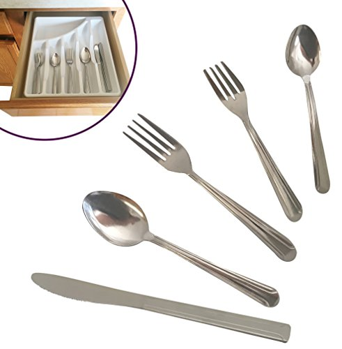 Silverware Set - Service of 4, 6, 8, or 12, Quality Designed Stainless Steel Dining Flatware With BONUS Sterlite Kitchen Drawer Cutlery Organizer 20, 30, 40, or 60 Piece (40) (Service Silverware compare prices)
