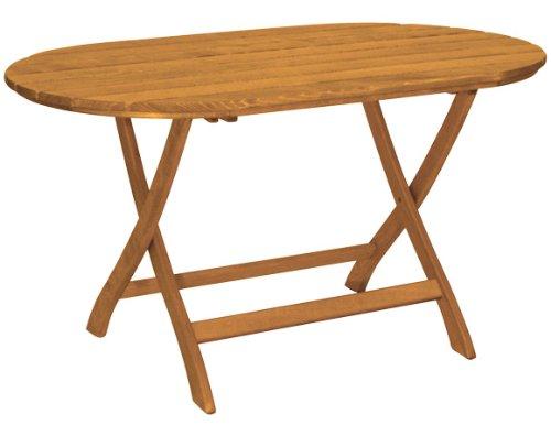 Gartentisch Mainau klappbar oval – Nostalgie aus Holz – braun lackiert – Qualität aus Deutschland kaufen