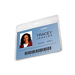 GBC BadgeMates ID Badge Holders, Horizontal Orientation, 4 x 3 Inches, Clear, 10 Holders per Pack (3747219)