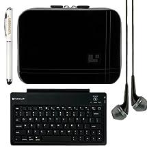 SumacLife Micro Suede Sleeve Cover for HP 8 1401 / HP Slate8 Pro 8-inch Tablet + Bluetooth Keyboard + Laser Stylus Pen + Black Headphones (Grey Trim)