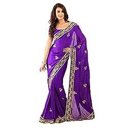 Purple Net With Viscose Designer Lehenga Saree