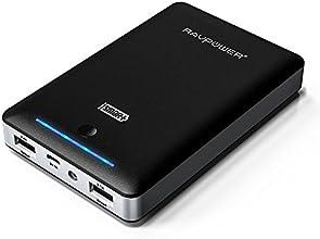 RAVPower® Batería Externa 16000mAh, Power bank, Batería portatil, Cargador Universal para iPhone iPad iPod Smartephone Tablets Samsung Android (Doble Salida USB iSmart 5V 2,1A / 5V 2,4A, Flashlight Linterna) - Negro