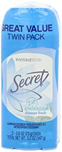 Secret Deodorant Shower Fresh Solid 2.6oz Great Valu Twin Pk