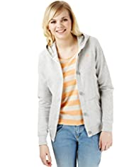 Angel Cotton Rich Burnout Button Through Sweat Top