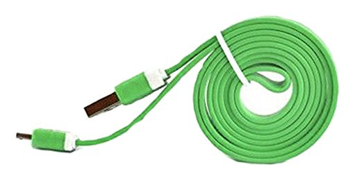 "Mylife Mantis Green {Solid Flat Noodle Design} 6' Feet (1.8 Meter) Quick Charge Usb 2.0 Micro Usb To Usb Data Sync Cord For Phones, Cameras, Tablets And Gps Devices ""See Compatibility"" (Durable Rubber Coat)"