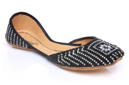 Image of Unze Women Leather Handmade Beads Crystal Adorned Flat Indian Khussa Evening Pump - 5497 (B005Q66ZPW)