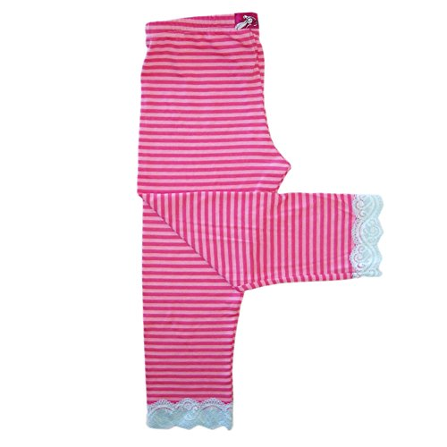 Capri Leggings Pink Striped For Girls Casual Dance Kids Fun Cute | Tutti Frutti