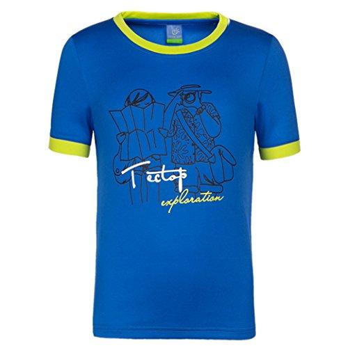 TECTOP Kids Dri-Fit Short Sleeve Patterns T-Shirts Stretch Outdoor Wear Dark Blue