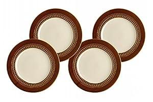 Paula Deen 58129 4 Piece Salad Plate Set-Southern Gathering, Chestnut, 8-Inch