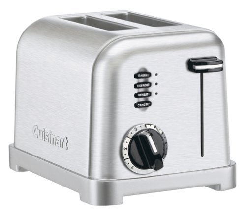 Cuisinart Stainless Steel 2-Slice Toaster with 1-1/2 inch Wide Toasting Slots, 6-Setting Browning Dial, with Defrost and Bagel Button, LED Indicator, Slide-out Crumb Tray with Convenient Cord Wrap (Cuisinart Crumb Tray compare prices)