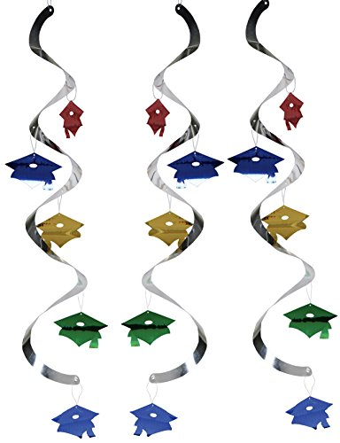 Creative Converting Graduation Caps Dizzy Danglers Party Decor, Assorted Colors