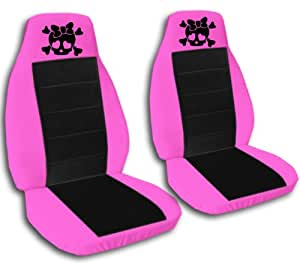 2 hot pink and black girly skull seat covers for a 2009 to 2011 toyota corolla side. Black Bedroom Furniture Sets. Home Design Ideas