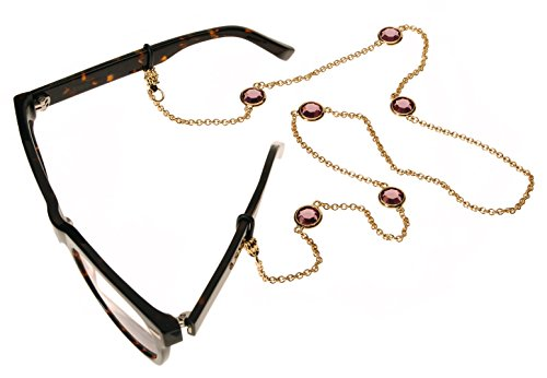 L. Erickson Charmer Eyeglass Chain - Amethyst/Gold