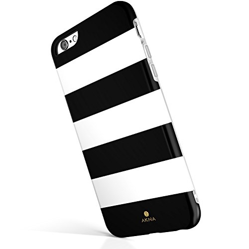Custodia iPhone 6 Plus 6s Plus,Serie Akna® New Glamour [TPU Flessibile] Custodia posteriore morbida per iPhone 6 Plus 6s Plus - [Black White Stripe]