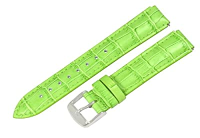 Clockwork Synergy® - 18mm x 15mm - Grass Green Croco Grain Leather Watch Band fits Philip stein Small