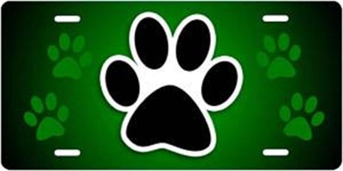 Large Dog Paw Print Car Truck Wall Metal Auto Plate Gift Usa Electric Green