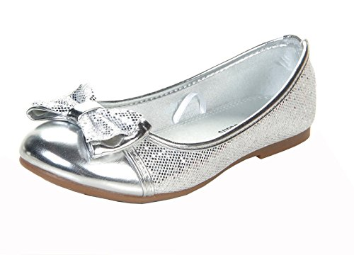 Jelly Beans Girl Toddler Laho Silver Glitter Fabric Synthetic Leather Flat 9.0M Us