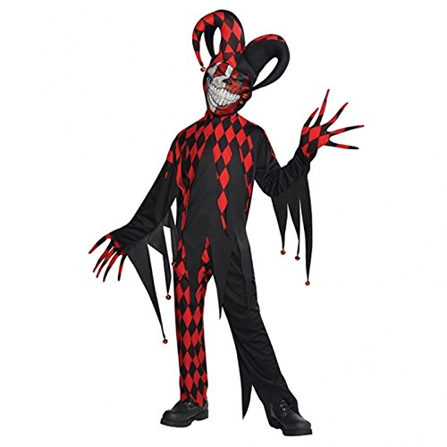 Teens Crazed Jester Joker Scary Clown Outfit Costume Halloween, per bambini