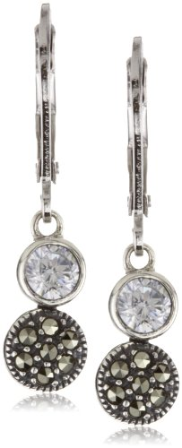 Judith Jack Sterling Silver Cubic Zirconia with Marcasite Pave Mini Drop Earrings