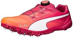 PUMA Men\'s Bolt Evospeed Disc Track Cleat, Fluorescent Peach/Rose Red, 6 D US