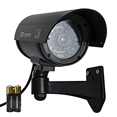 Etekcity Security Outdoor Fake,Dummy Surveillance Camera with Blinking,Flashing Light(2xAA Batteries Included, Black)