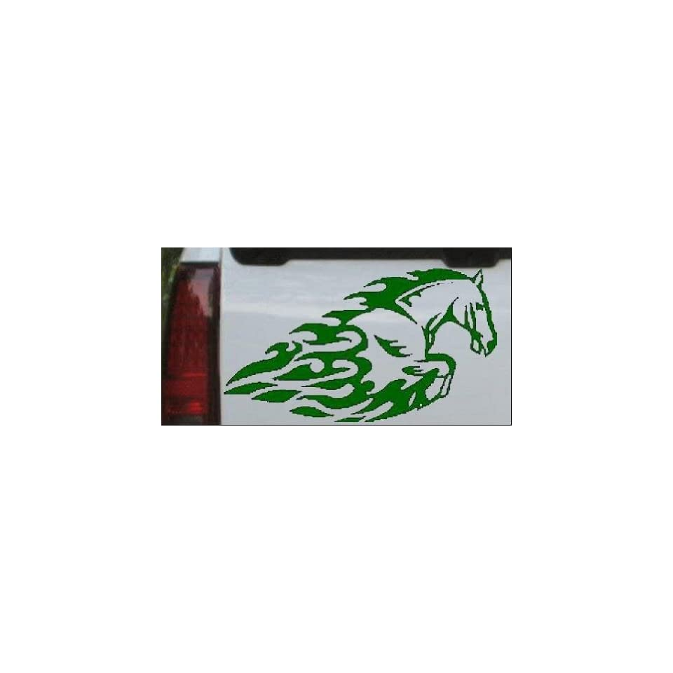 Flaming Mustang Horse Animals Car Window Wall Laptop Decal Sticker    Dark Green 4.2in X 7.5in
