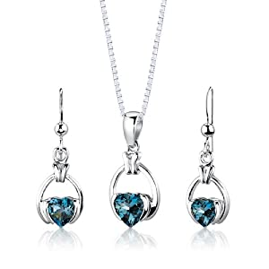 Sterling Silver Rhodium Nickel Finish 2.25 carats total weight Heart Shape London Blue Topaz Pendant Earrings and 18 inch Necklace Set by Peora
