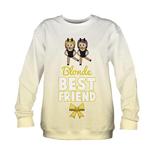 Maglione Donna Felpa Maniche lunghe Loose con collo Rotondo Lettera di Stampa Pullover Sweatshirt Blonde best friends [038]