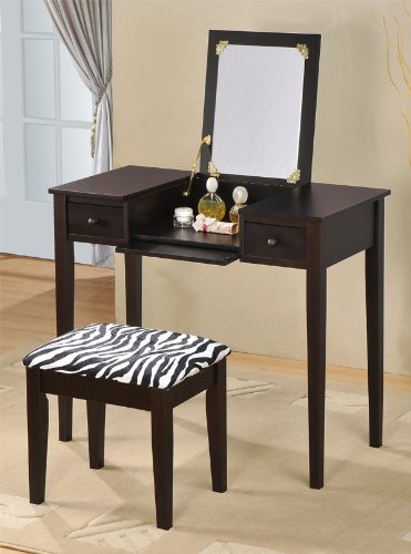 ABC Contemporary Vanity Set with Flip Mirror Top and Zebra Print Stool Espresso Finish