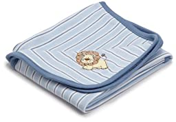 Little Me Baby Boys\' Lovable Lion Tag Along Blanket, Light Blue Stripe, One Size