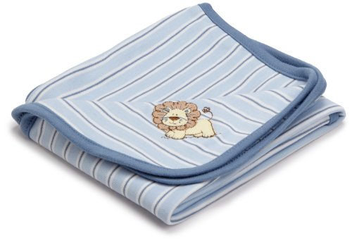 Little Me Baby-boys Newborn Lovable Lion Tag Along Blanket, Light Blue Stripe, One Size