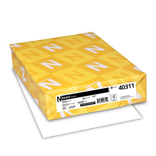 "Exact Index 90, 8-1/2'x11"", 94 Bright, 250SH/PK, White, Sold as 1 Package"