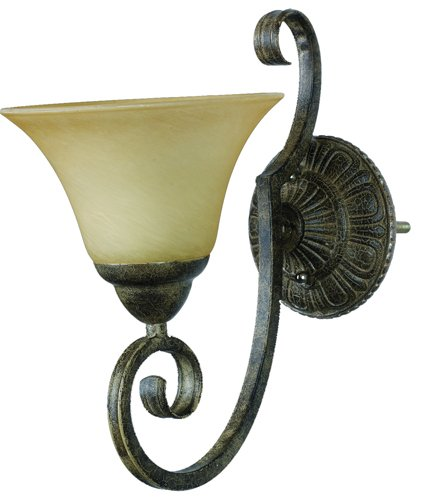Yosemite Home Decor F053B01LTS Mariposa Wall Sconce Light, Turismo Glass Shade, Tuscan Sand Finished Frame