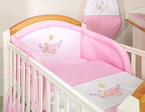 Pink sleepy teddy 3 pieces bedding set Cot bed (70cm x 140cm)