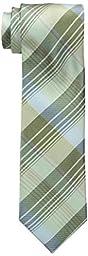 Calvin Klein Men\'s Schoolboy Chalk Plaid Tie, Citron, One Size