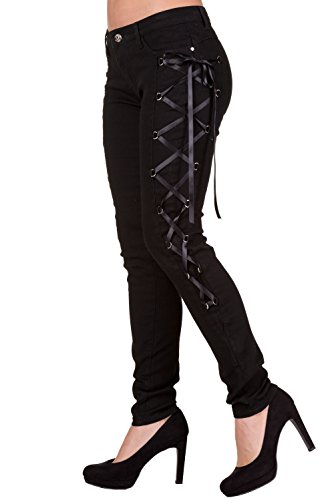Banned Gothic Rockabilly Steampunk Black Side Corset Skinny Jeans Pants (M)