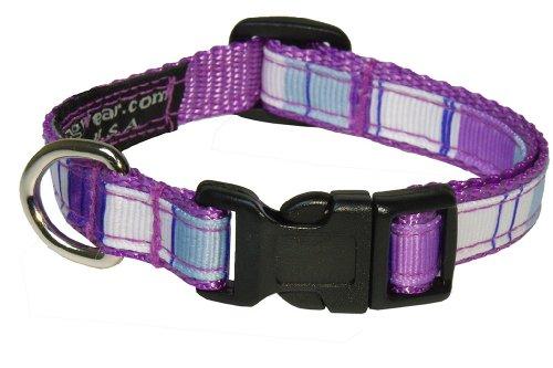 Sassy Dog Wear 6-12-Inch Purple/Multi Stripe Dog Collar, X-Small
