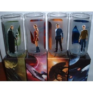 4 STAR TREK Glasses - Kirk, Spock, Uhura, Nero